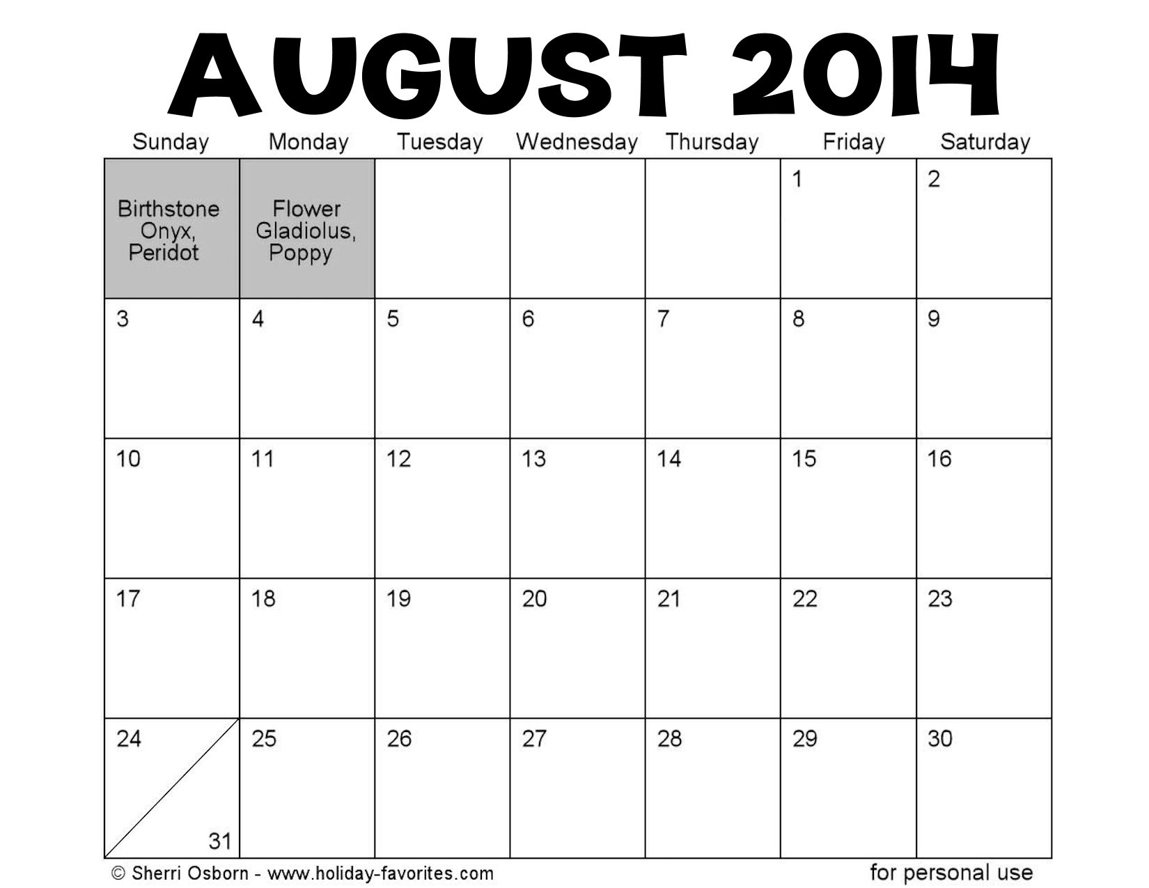 August 2014 Calendar with Holidays