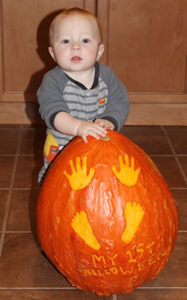 Easton's First Halloween Pumpkin