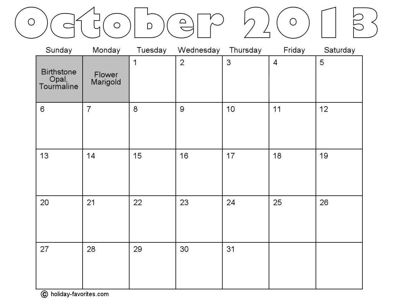 October Calendar 2013 : October holidays holiday favorites