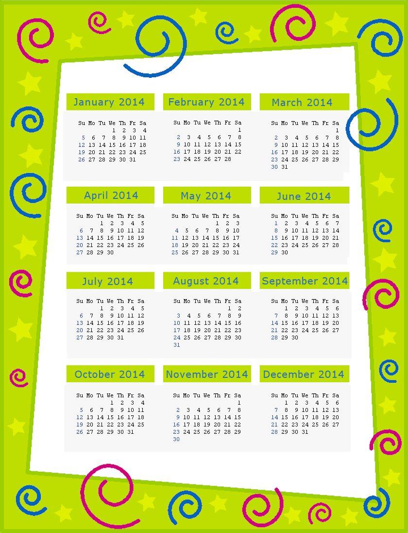 Green 2014 Calendar Page