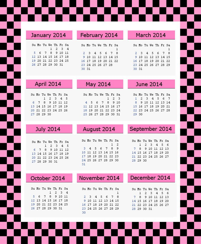 Pink 2014 Calendar Page