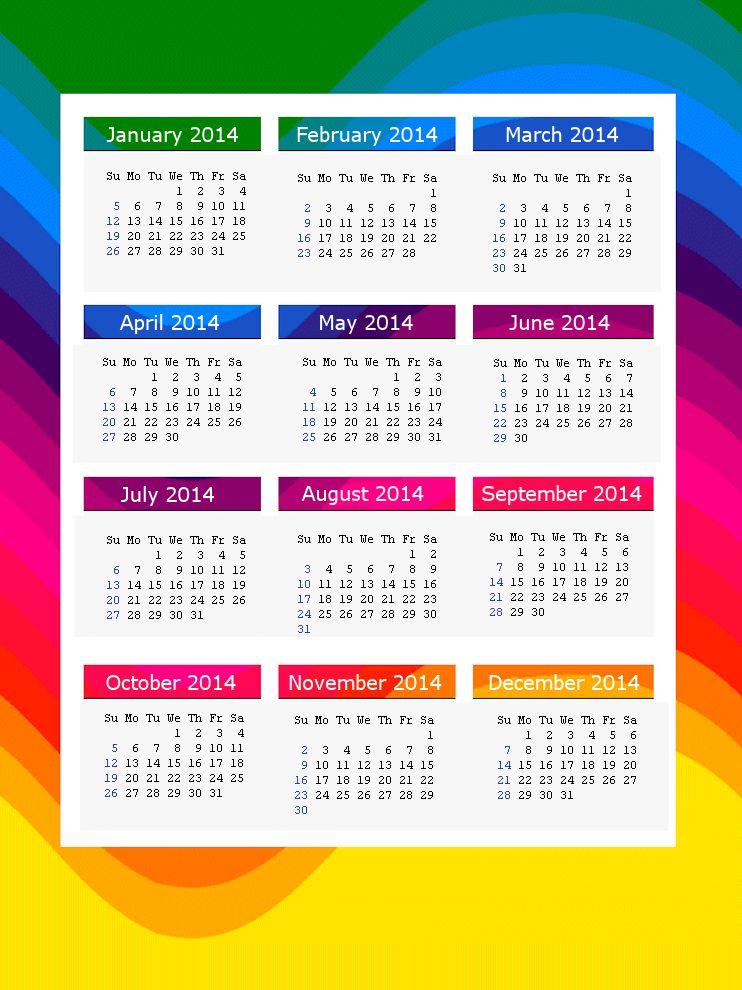 Rainbow 2014 Calendar Page