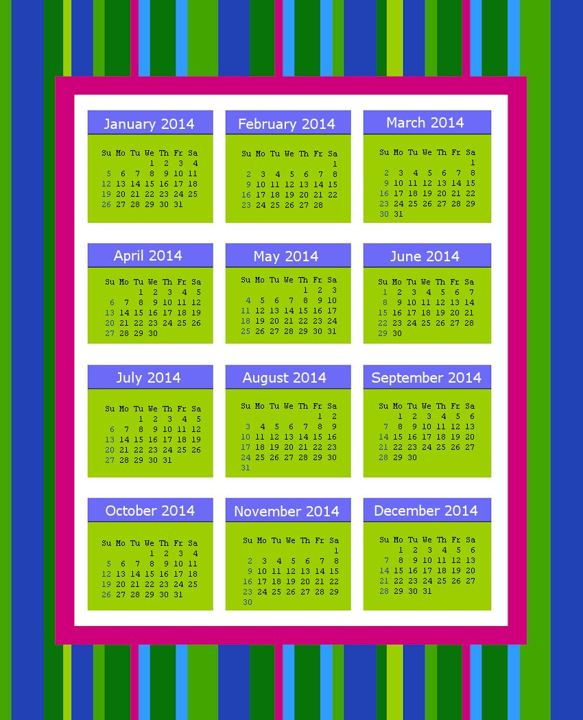 Striped 2014 Calendar Page