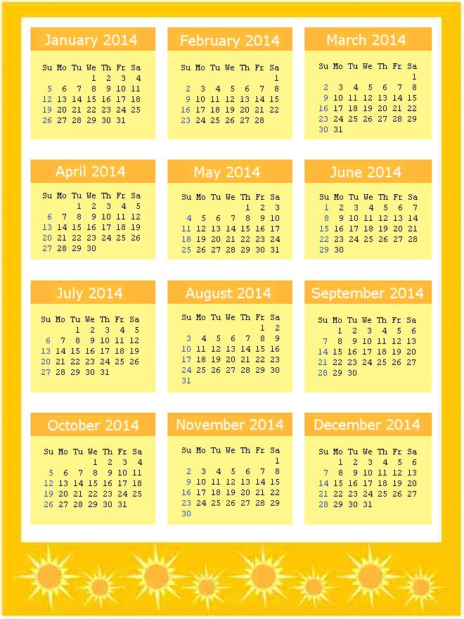 Yellow 2014 Calendar Page