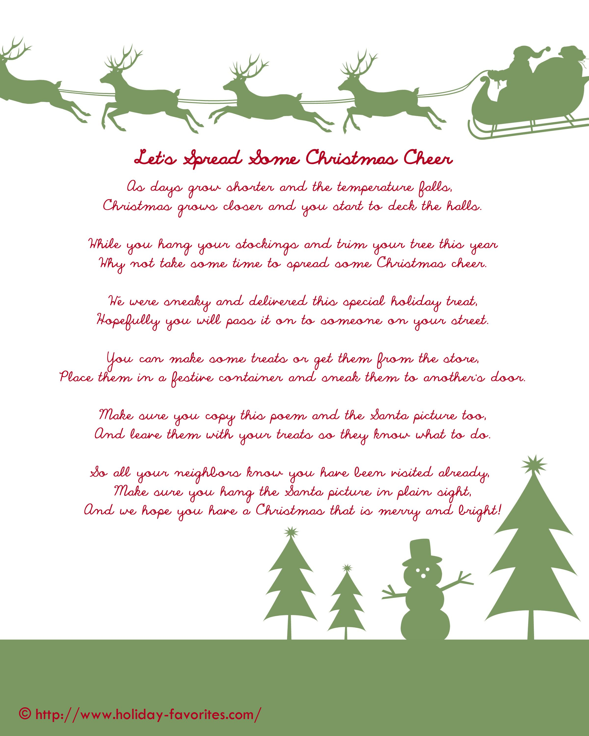 Neighbor Pass-It-On Christmas Gift Poem