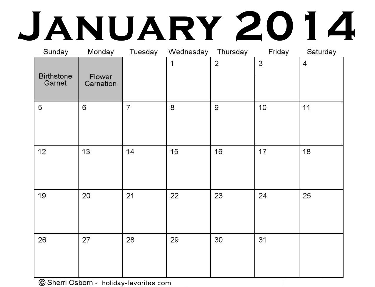 January 2014 Special Days to Celebrate