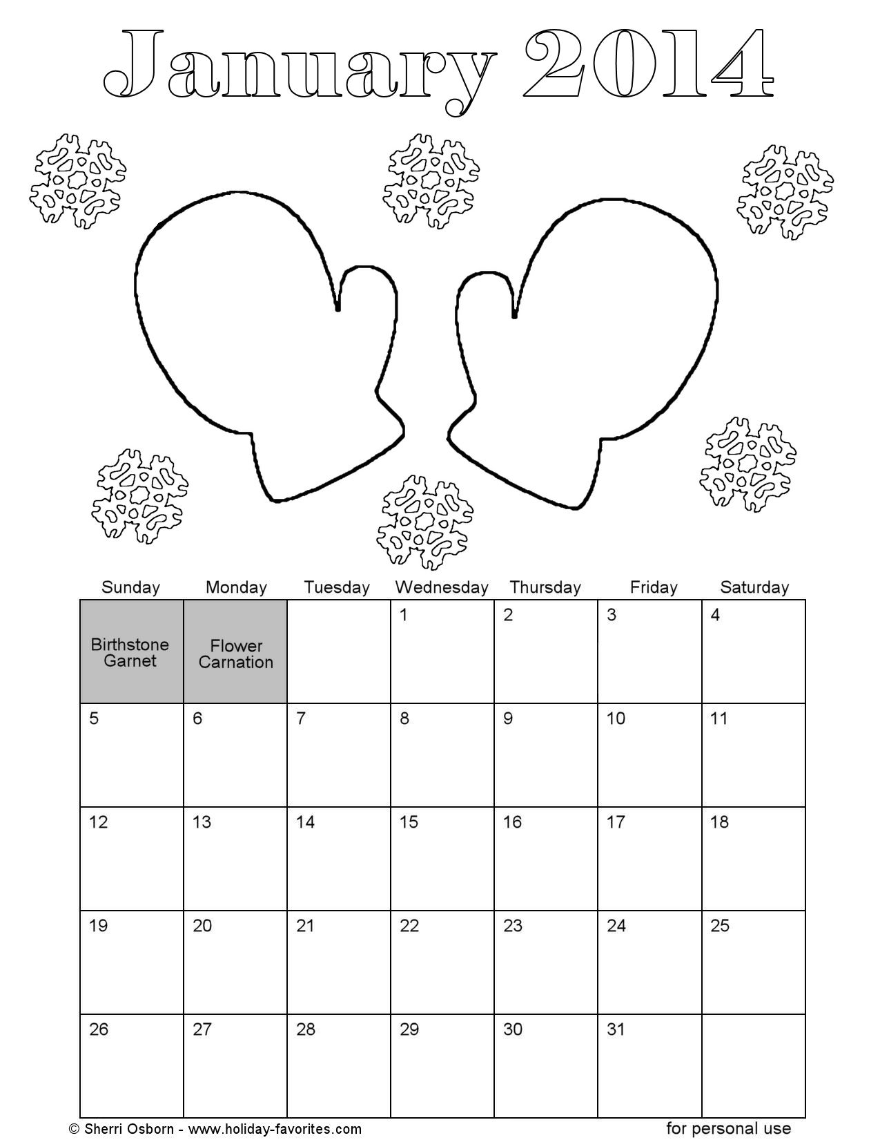 January 2014 Mittens Coloring Page Printable Calendar Page