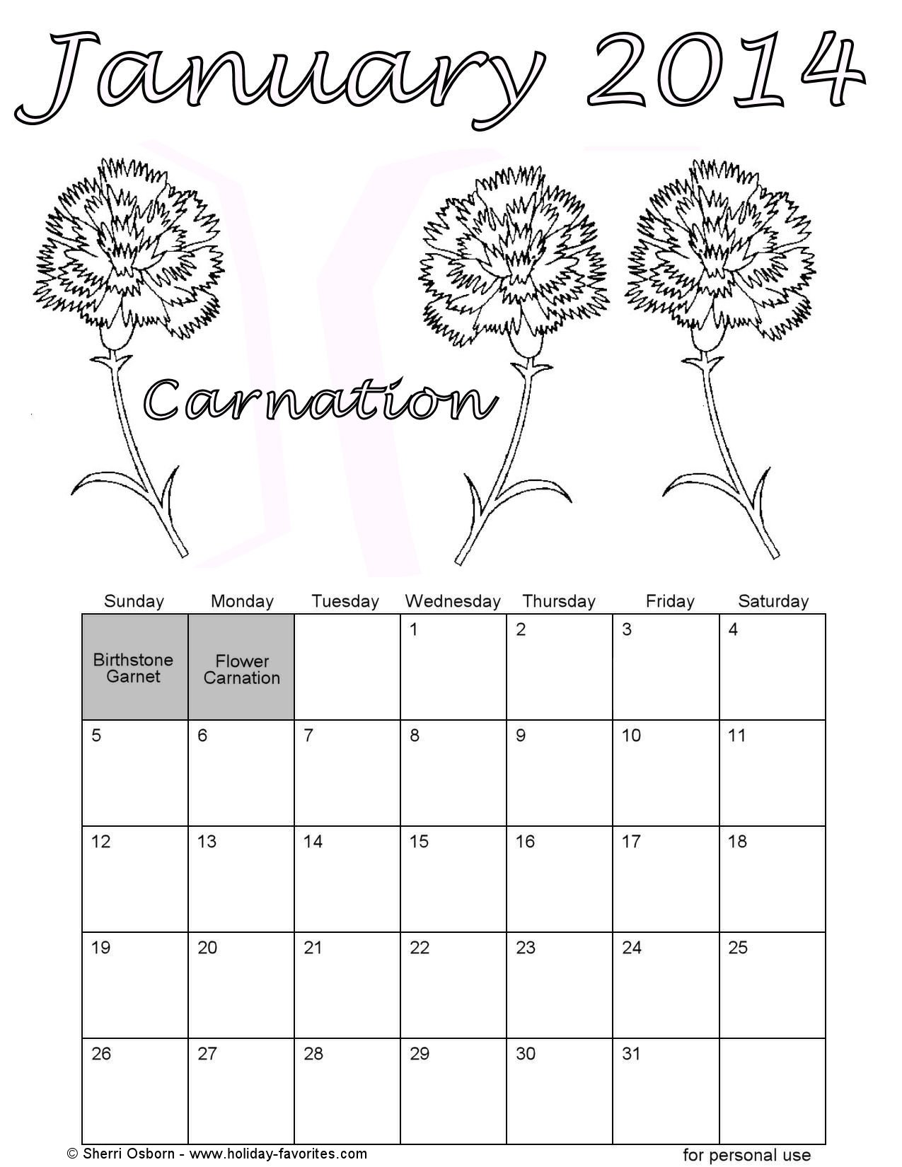 January 2014 Flowers Coloring Page Printable Calendar Page