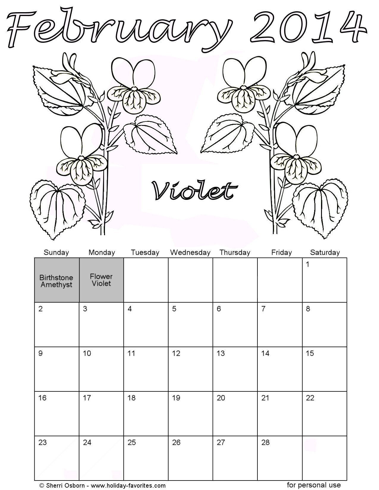 February 2014 Calendar With Holidays Printable february 2014