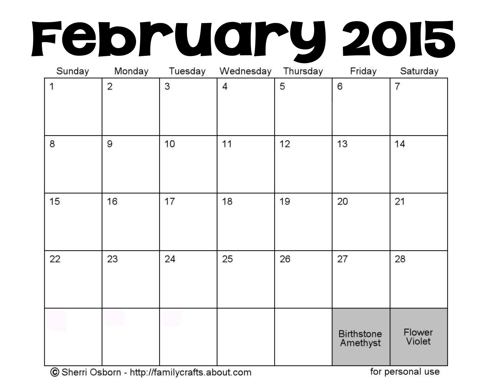 "... for ""February 2015 Month Template/page/2"" – Calendar 2015"
