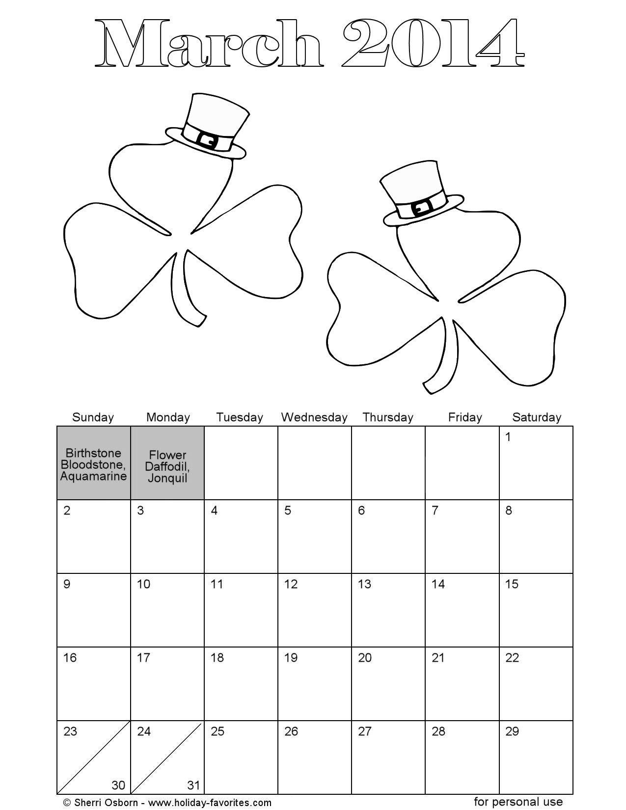 March Shamrocks Printable Calendar Page