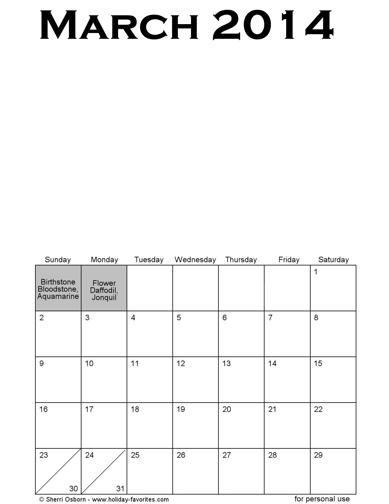Blank March Printable Calendar Page