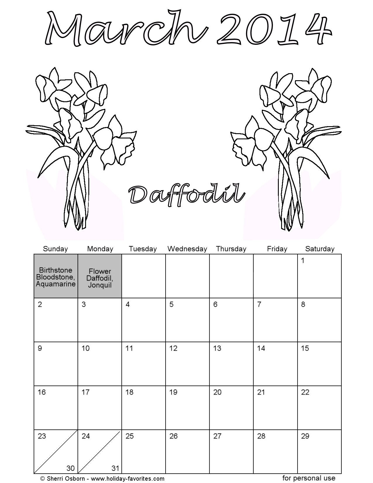 March Daffodil Calendar Page