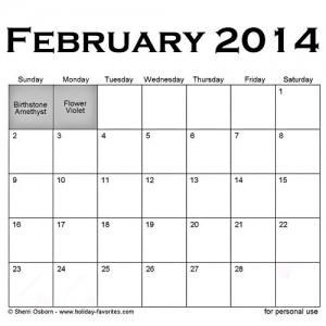 February special days calendar