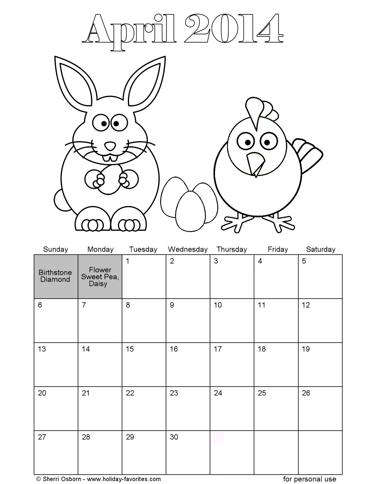 Printable April Easter Coloring Calendar Page