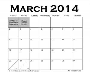 March 2014 Holidays