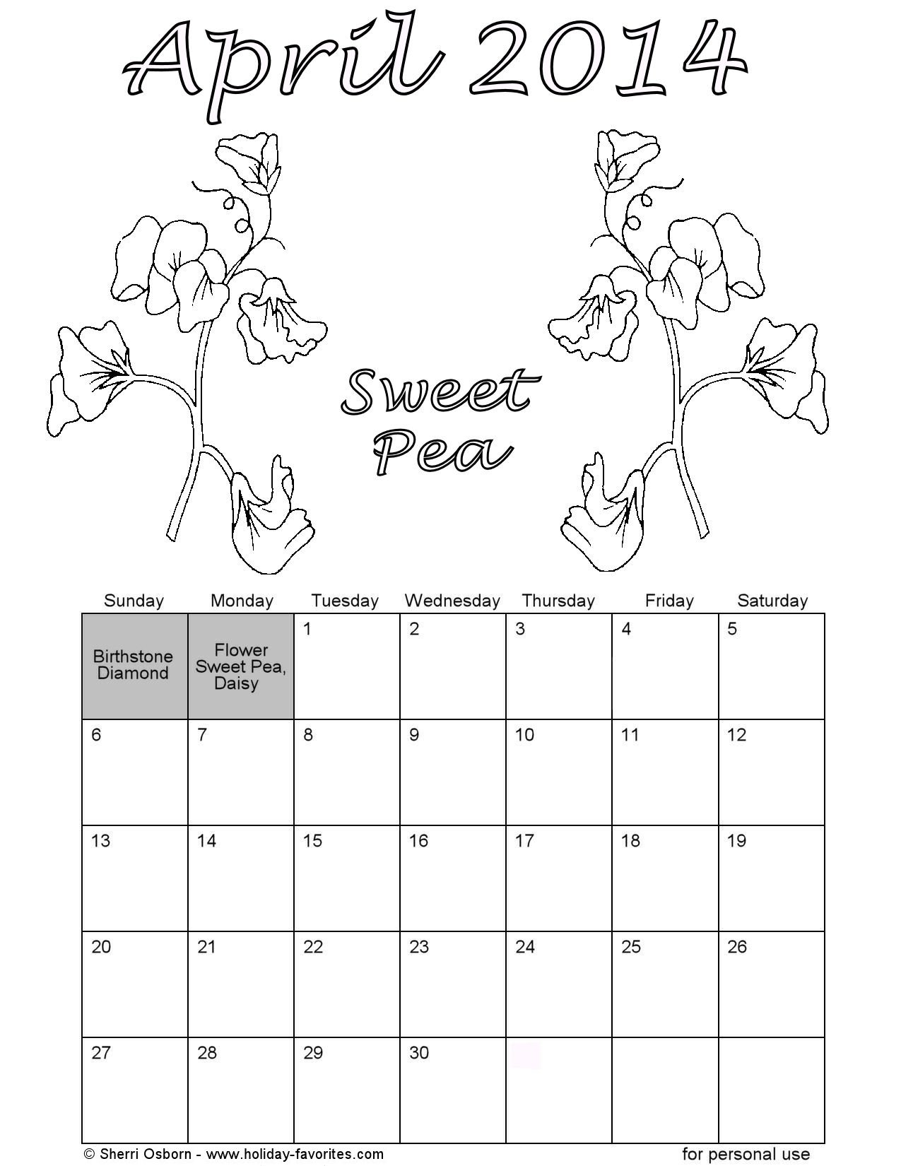 Printable April Sweet Pea Coloring Calendar Page