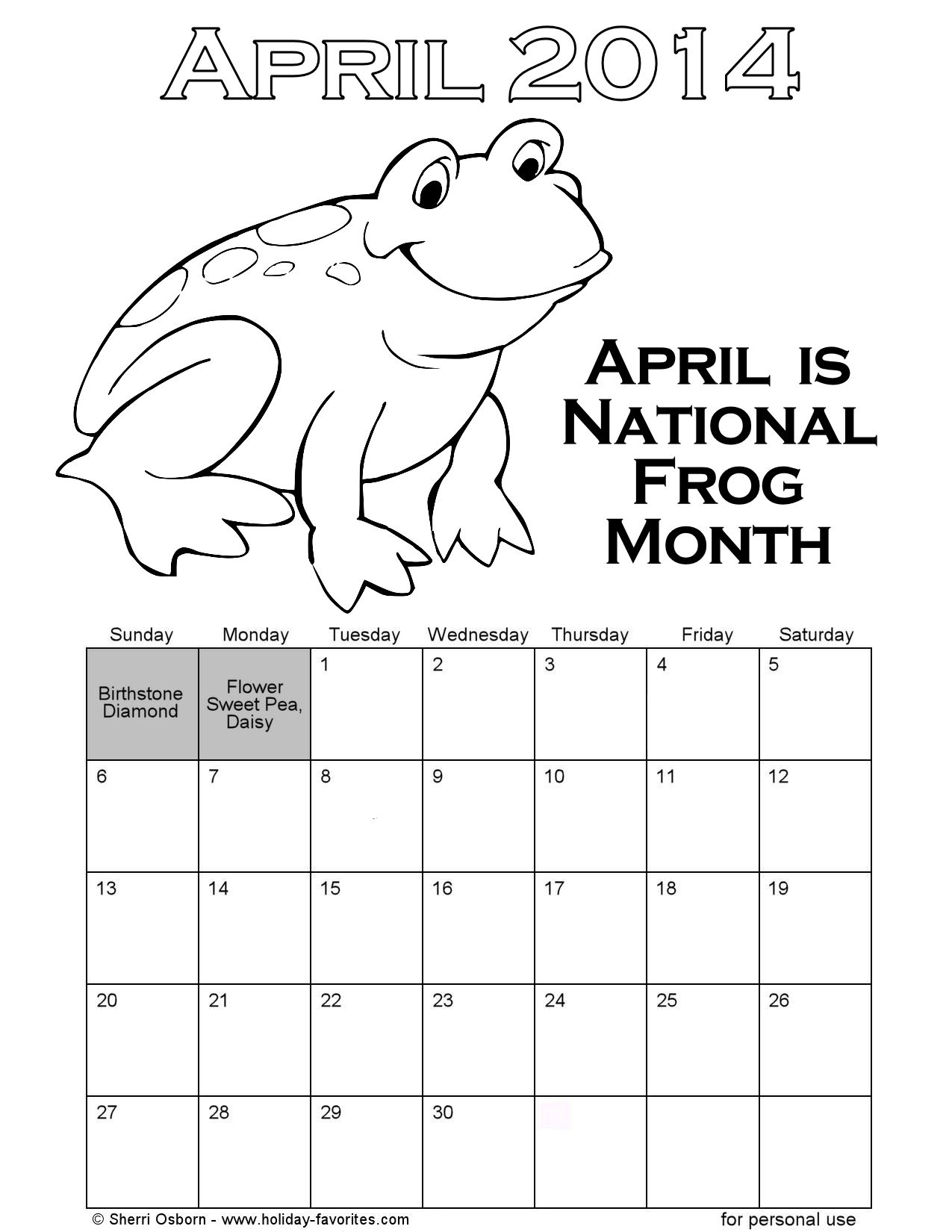 Printable April Frog Coloring Calendar Page