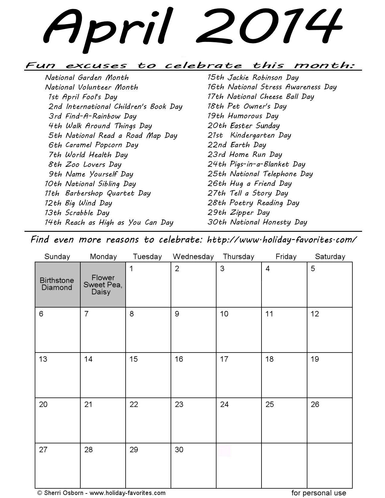 Printable April Special Days Calendar Page