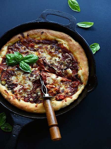 Simple Deep Dish Roasted Veggie Pizza
