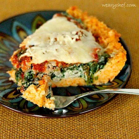 Sausage and Spinach Deep Dish Pizza with Pasta Crust