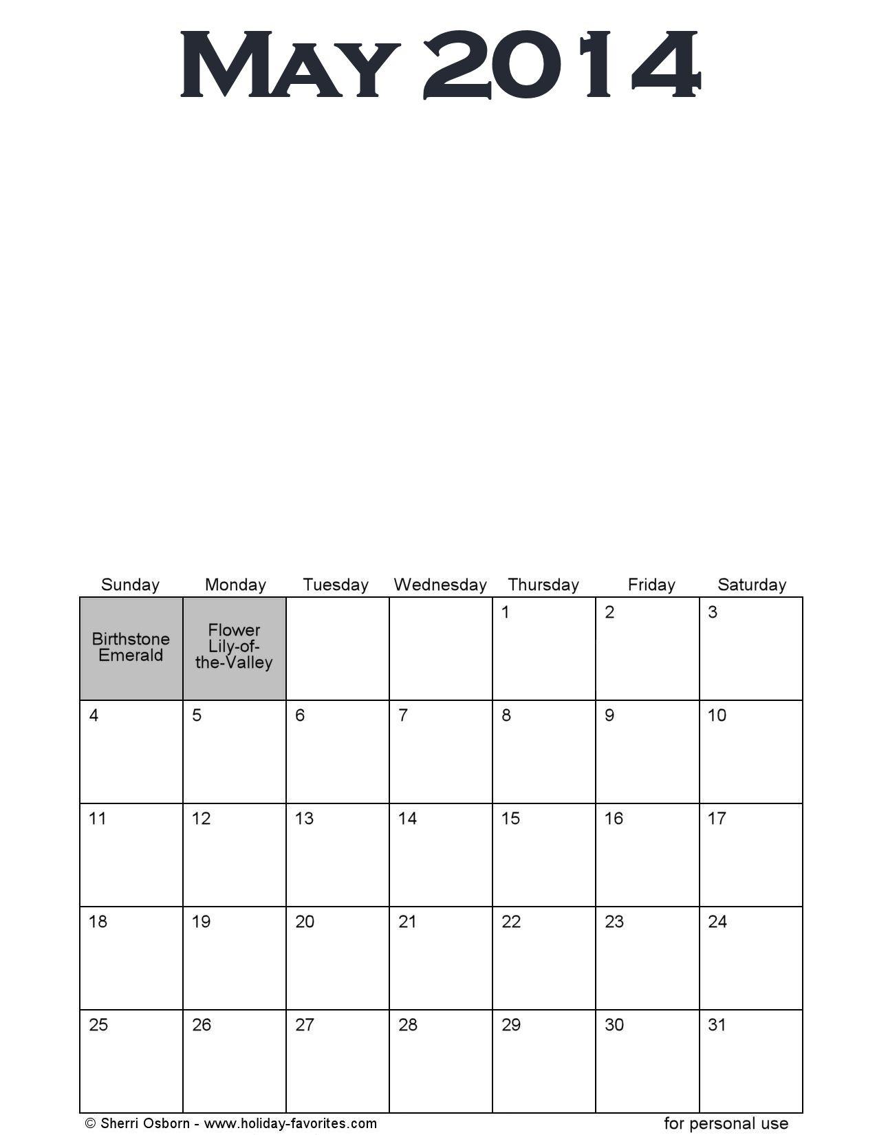 May Calendar Page : Printable may calendars holiday favorites
