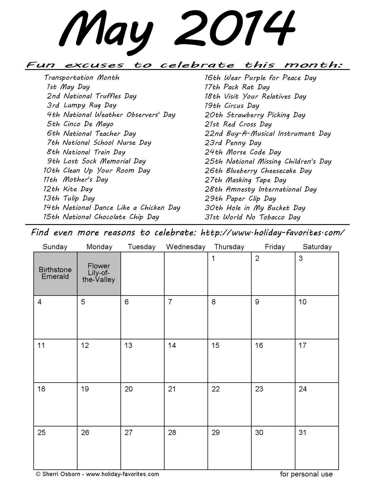 May Calendar Days : Printable may calendars holiday favorites