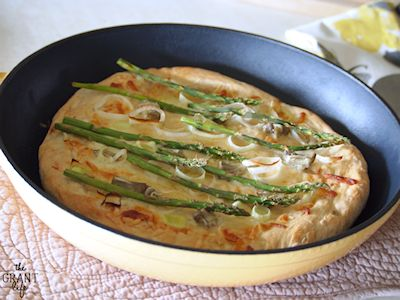 Asparagus and Leek Skillet Pizza