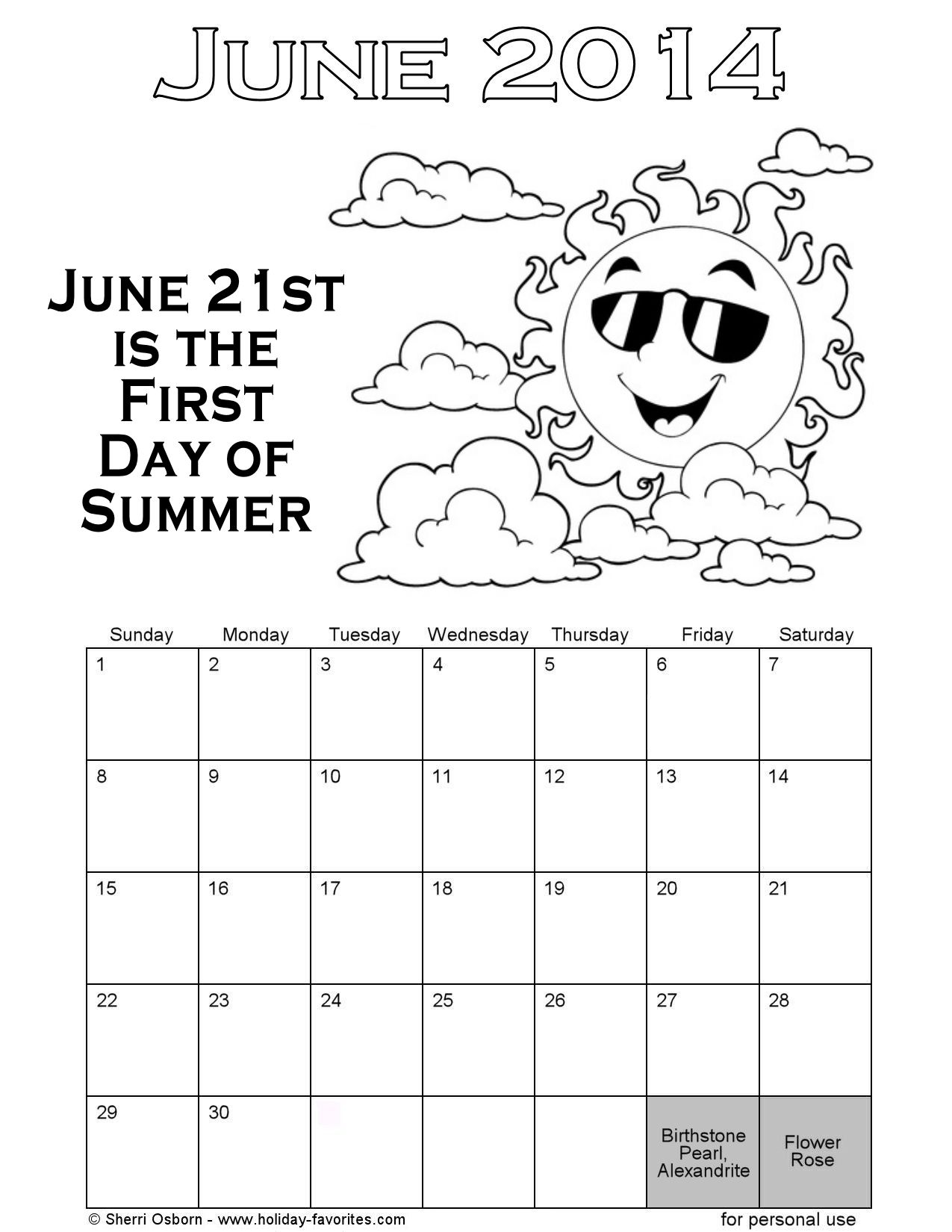 printable june coloring pages - photo#31