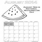 Printable August Watermelon Calendar250
