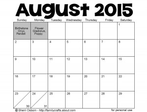 August 2015 Holidays and Special Days