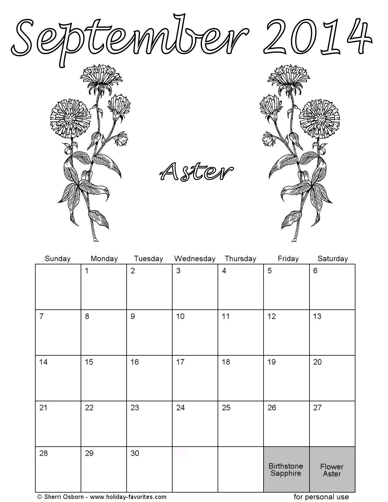 coloring pages calendar - printable september 2014 calendars holiday favorites