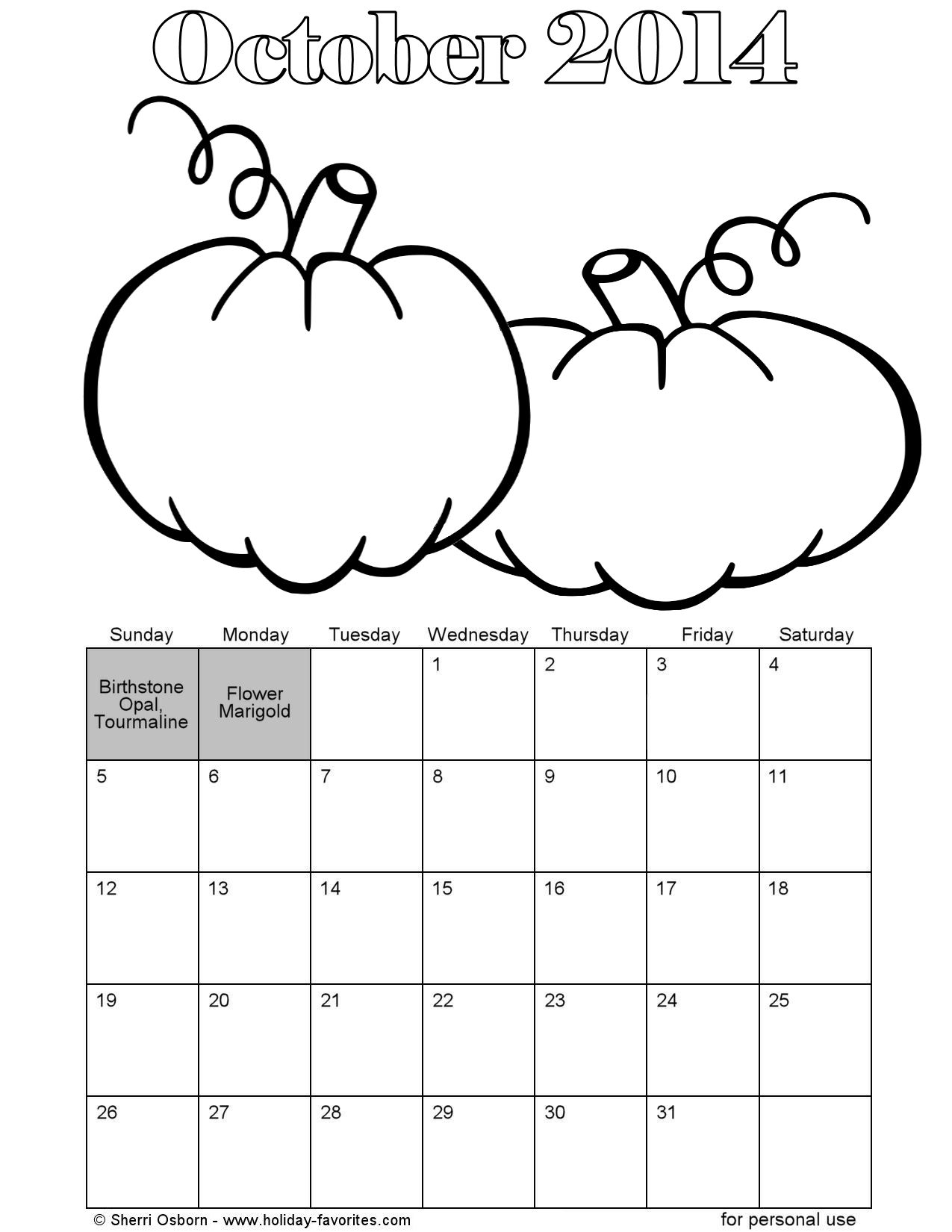 Printable October 2014 Calendars Holiday Favorites