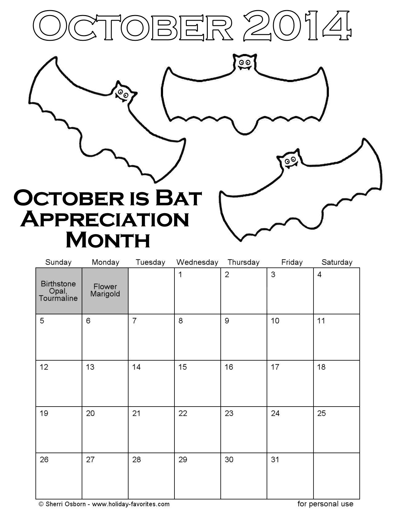Calendar Symbols Printables : Printable october bat coloring calendar page