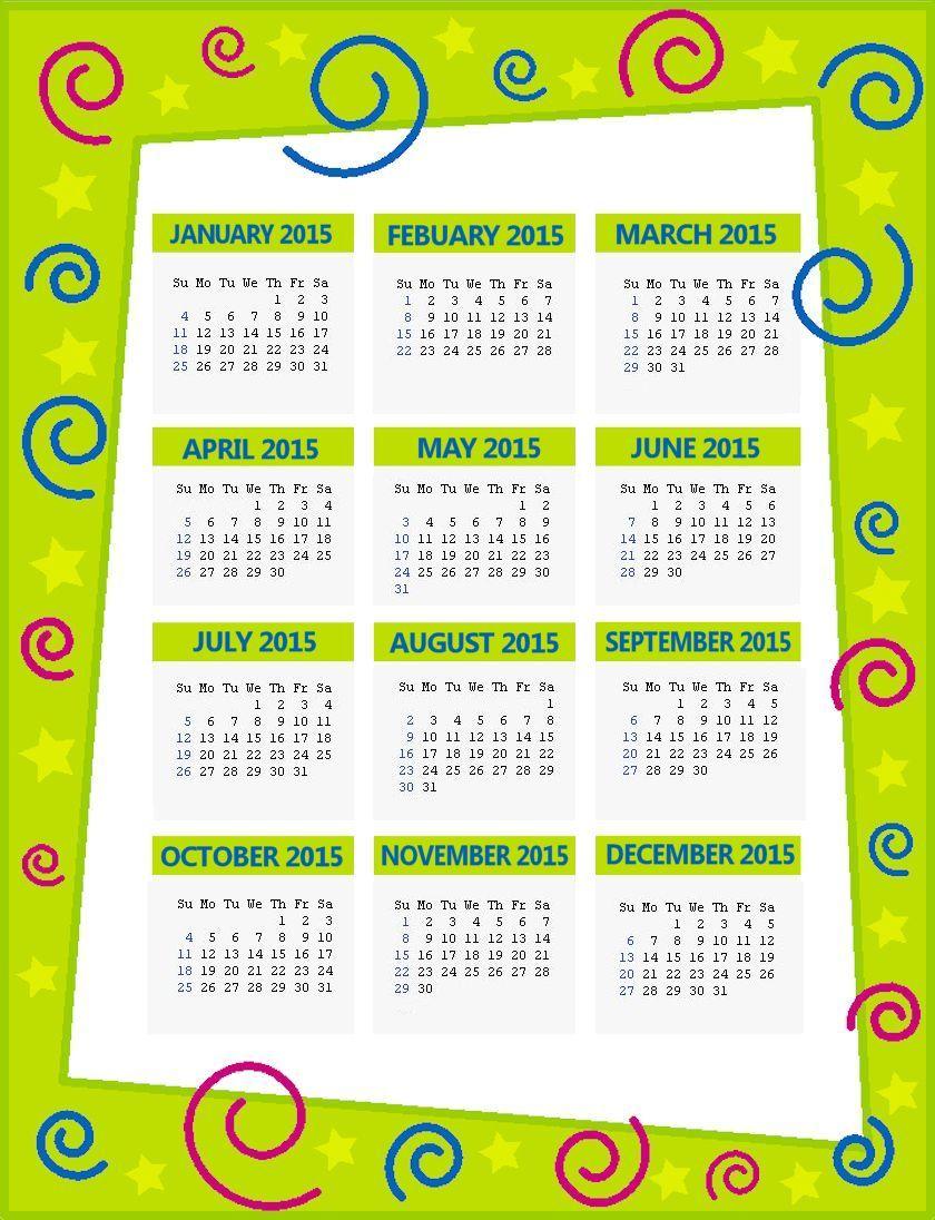 Green Swirls 2015 Calendar Page