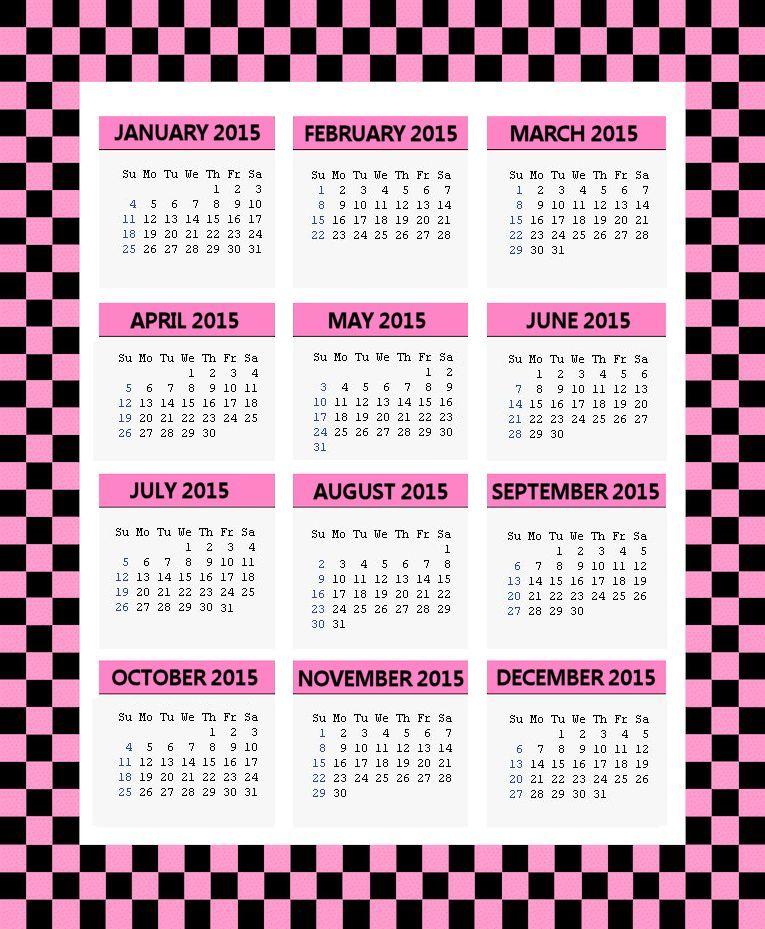 Pink and Black Checks 2015 Calendar Page