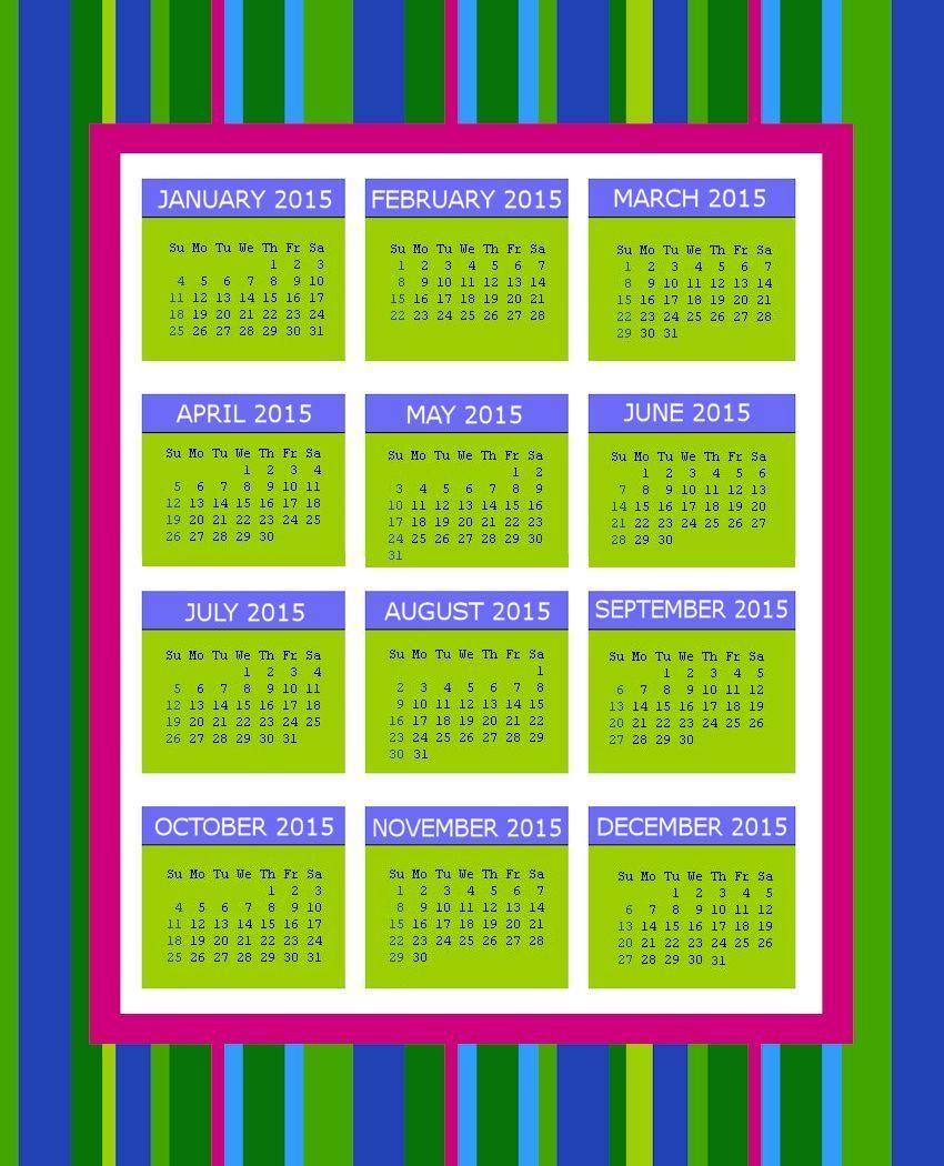 Retro Stripes 2015 Calendar Page