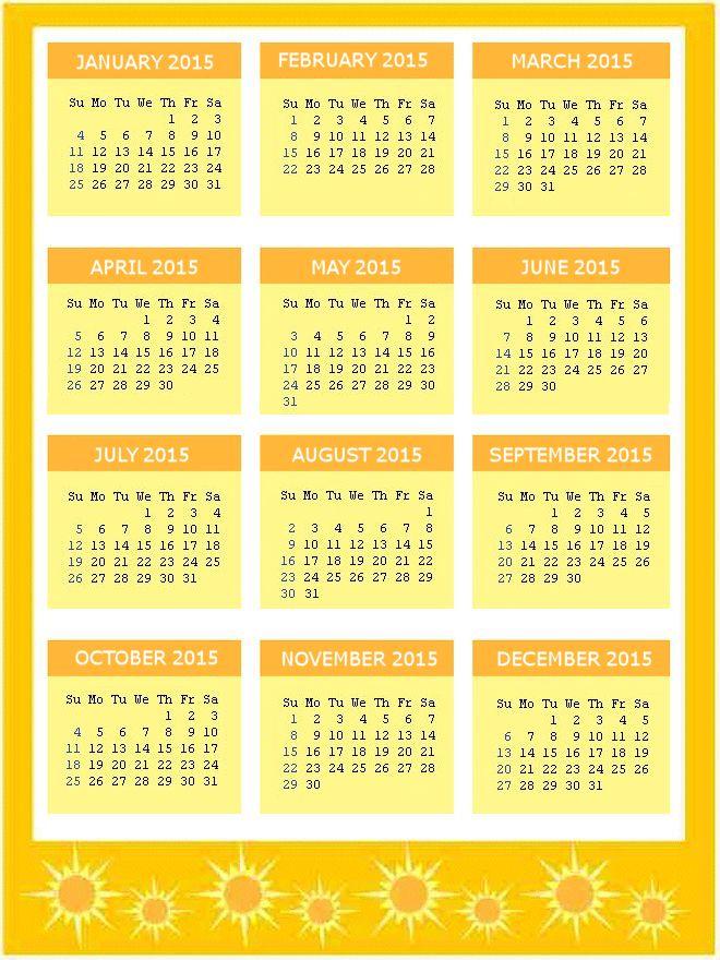 Yellow Sunshine 2015 Calendar Page
