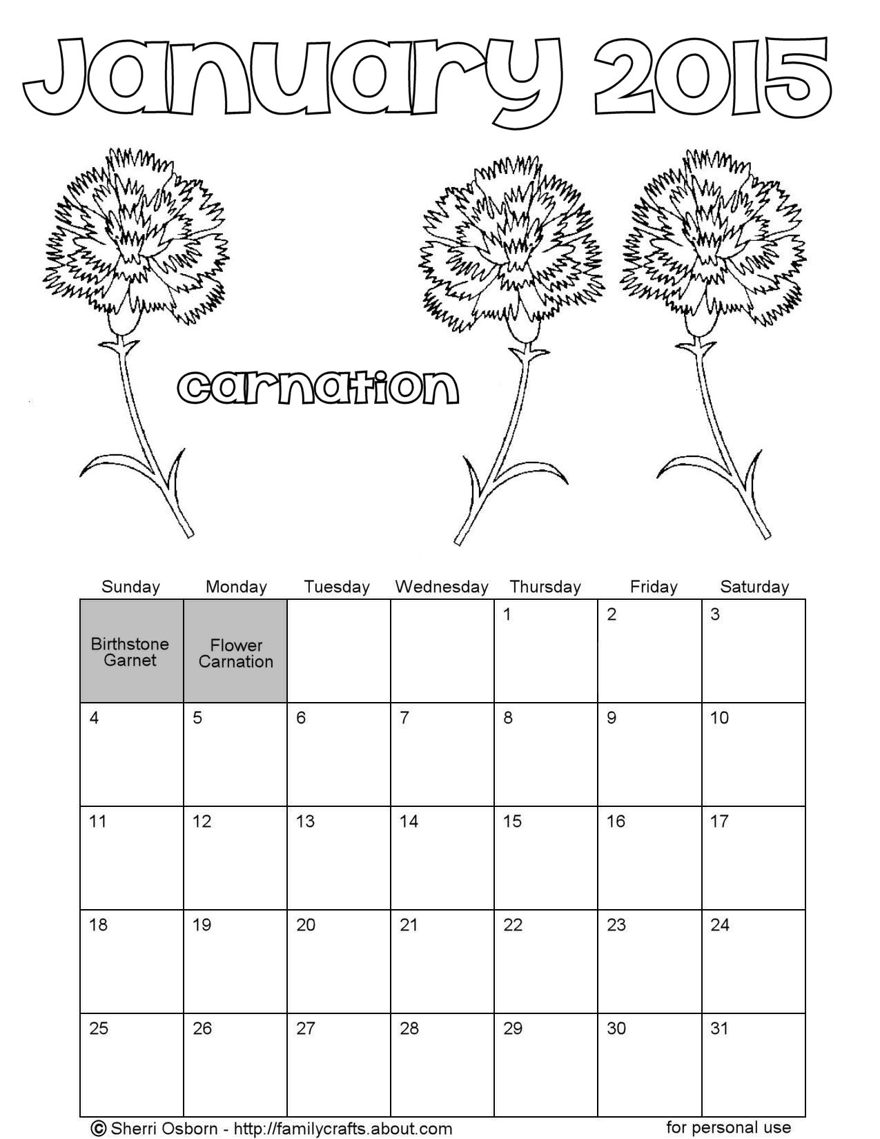 january 2015 printable calendar pages holiday favorites. Black Bedroom Furniture Sets. Home Design Ideas