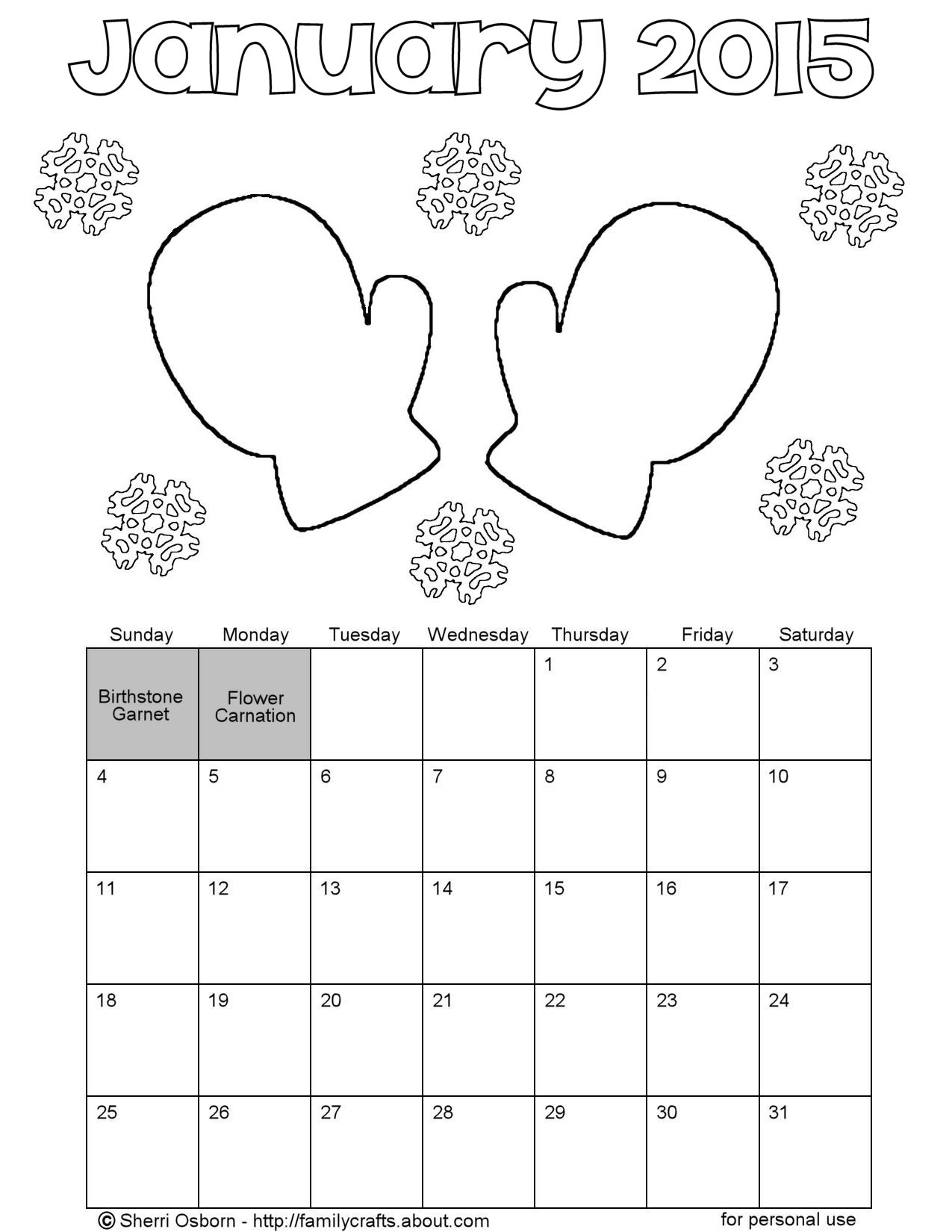 January 2015 Mitten Calendar Coloring Page