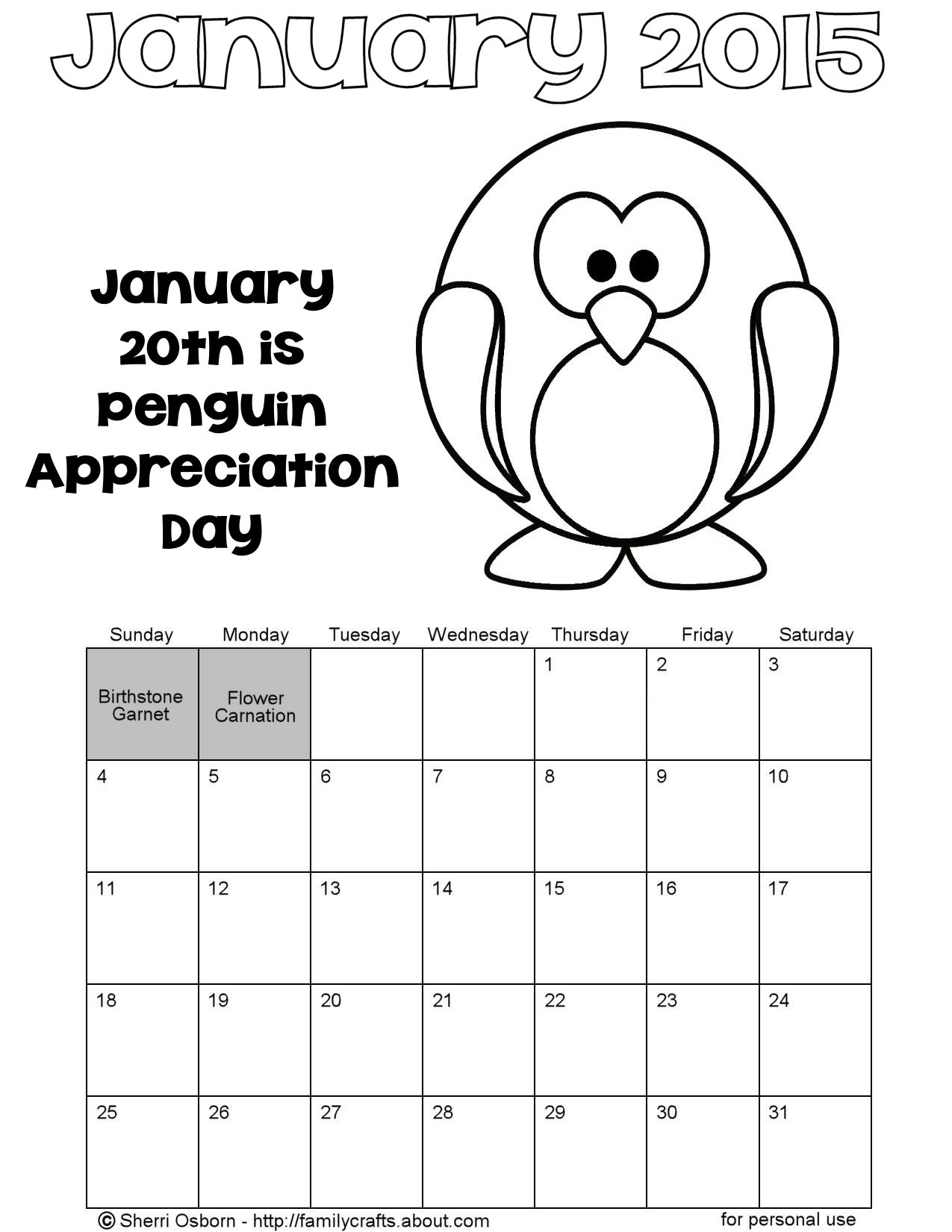 Coloring pages for january - January 2015 Penguin Calendar Coloring Page