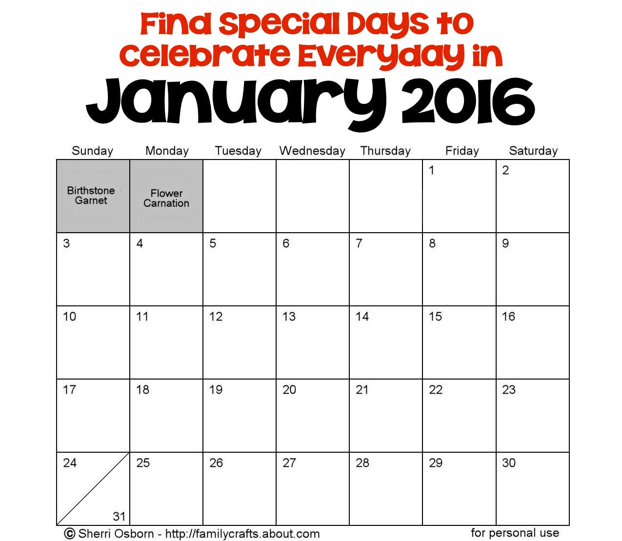 January Calendar 2015 With Holidays : January holidays holiday favorites