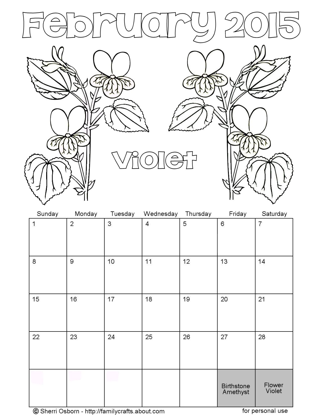 February coloring pages printable for Calendar coloring page