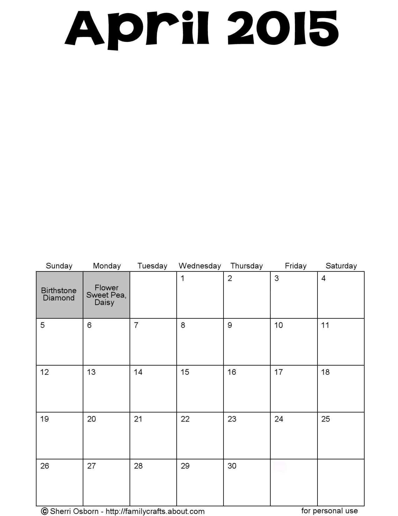 april 2015 printable calendar pdf