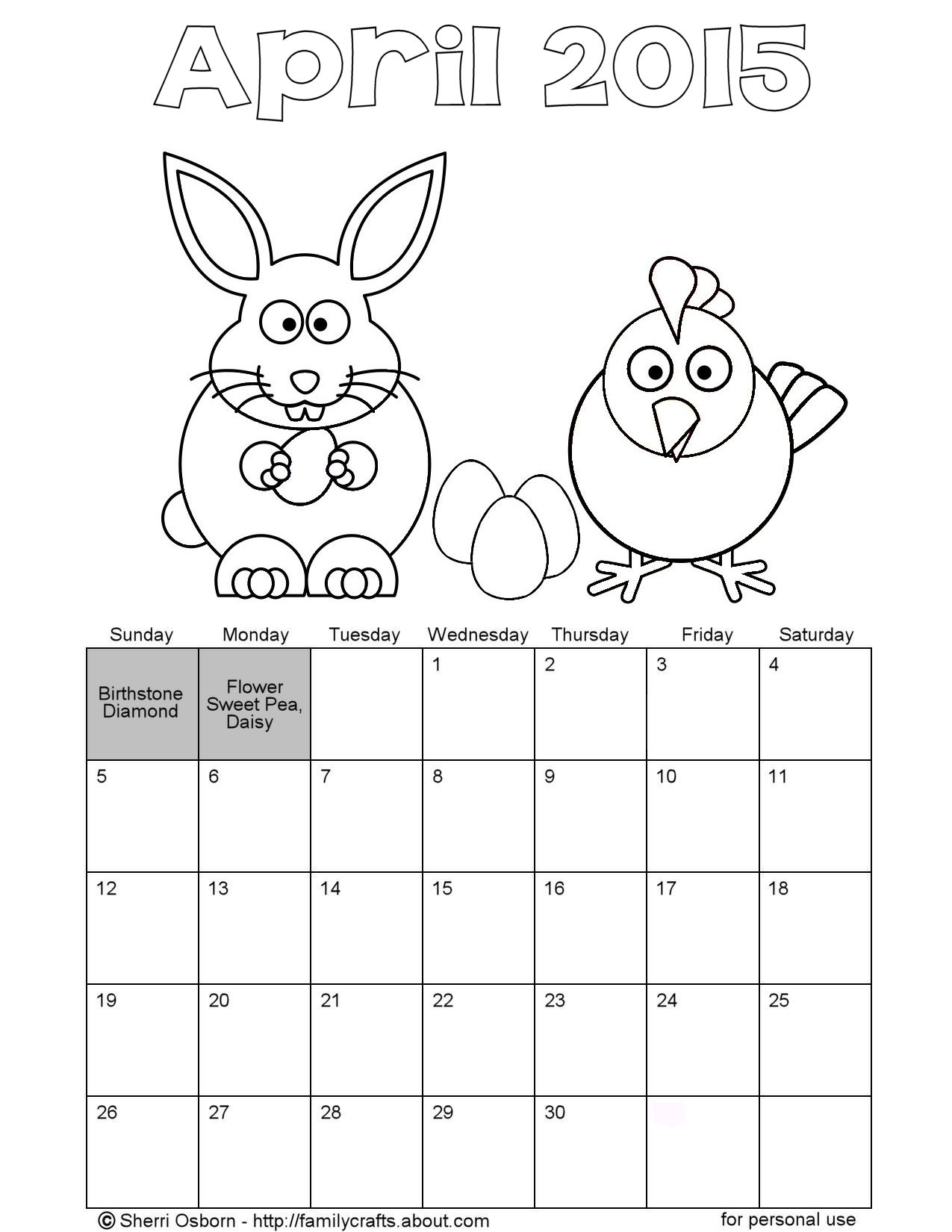 April Calendar Page : Calendar april coloring pages