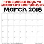 Special Days to Celebrate in March 2016 250