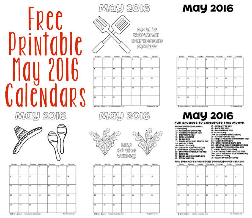 Printable May 2016 Calendars