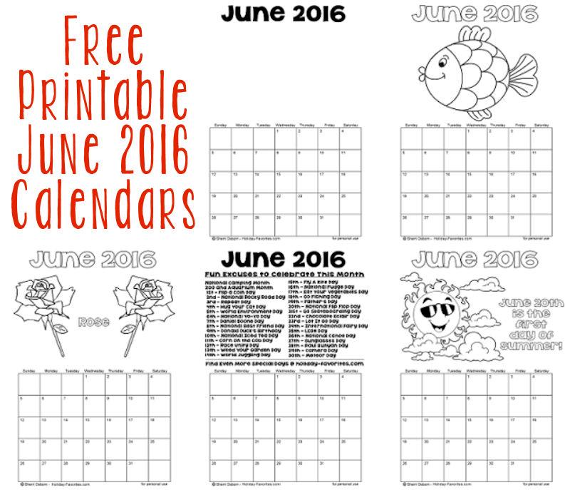Printable June 2016 Calendars