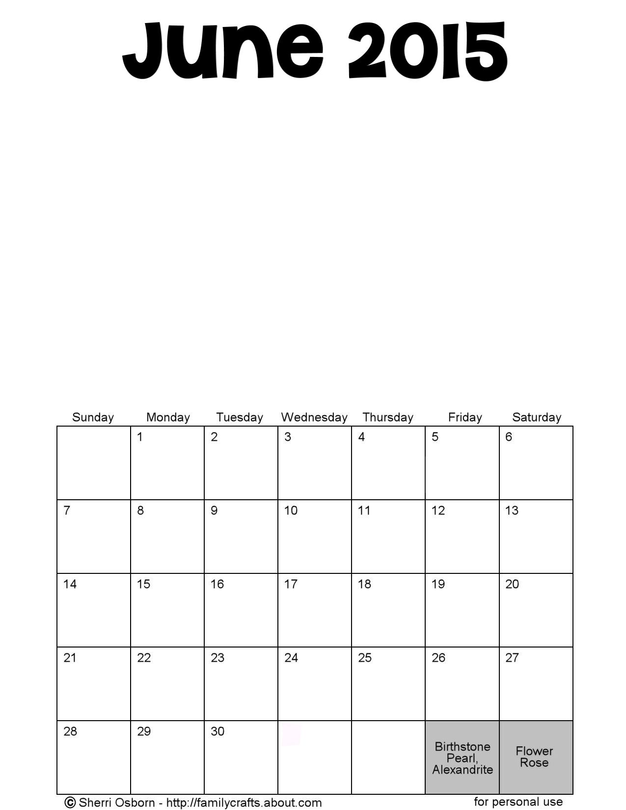 Calendar June 2015 : Printable june calendars holiday favorites
