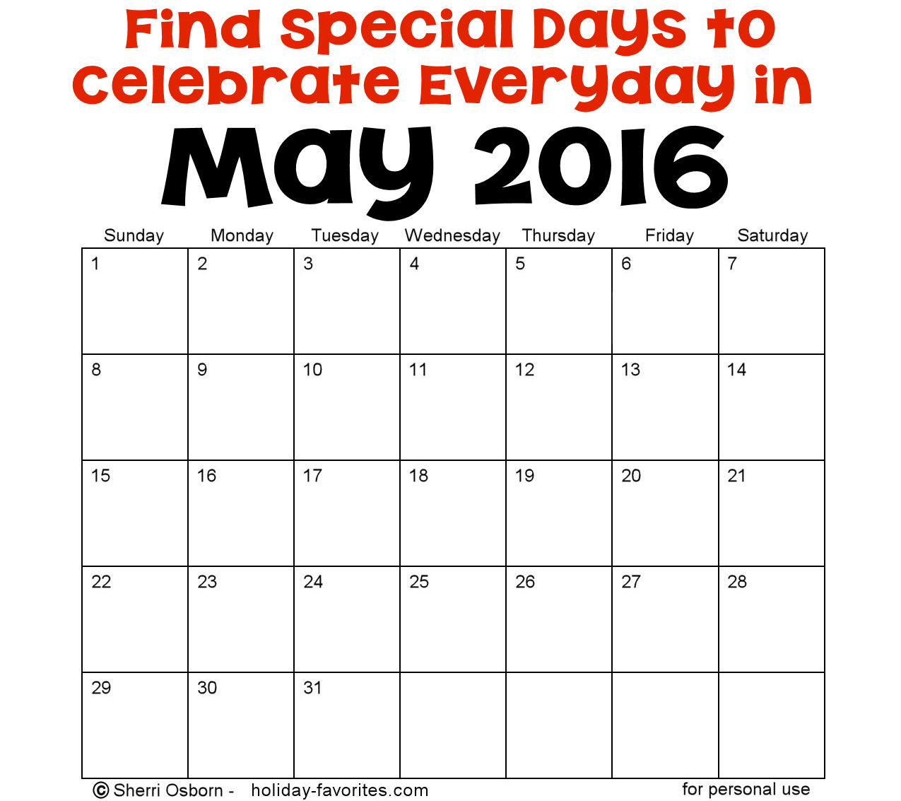 May Calendar Special Days : May holidays and special days holiday favorites
